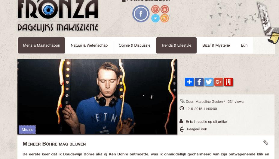 Blog Marceline about Ken Böhre for Fronza.nl in 2017: 1231 views