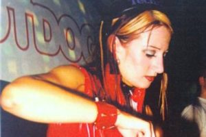Lisa Lashes first gig 1997 red cat suit